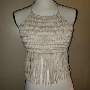 Off-white Handmade Crochet Crop Top with Fringe